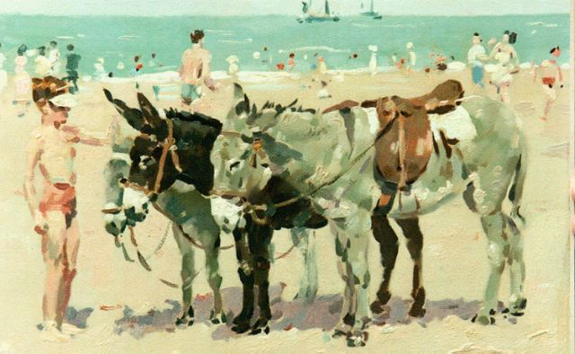 Frits Verdonk | Donkies on the beach, 34.0 x 47.0 cm, signed l.r.