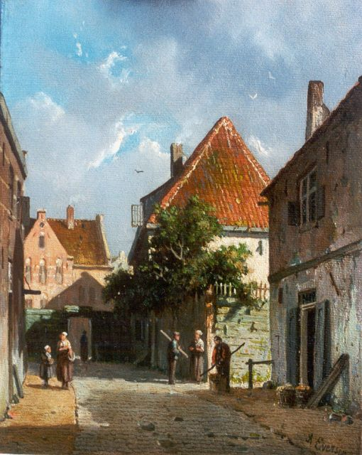 Adrianus Eversen | A sunlit street, oil on panel, 18.9 x 15.1 cm, signed l.r. and on a label on the reverse