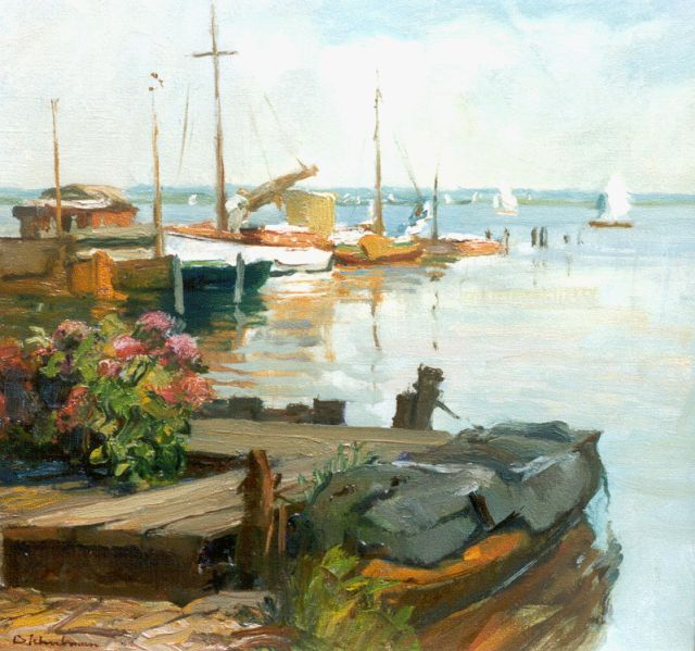 David Schulman | Moored boats, Loosdrechtse plassen, oil on canvas, 45.3 x 45.2 cm, signed l.l.