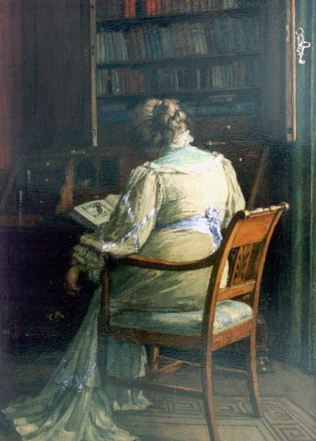 Jan Bogaerts | A lady reading in a library, oil on canvas, 45.4 x 32.6 cm, signed l.r. and dated 1907