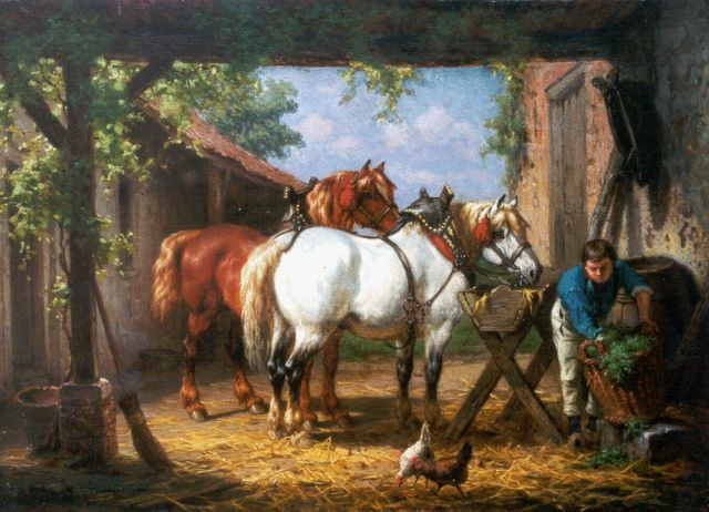 Willem Johan Boogaard | Feeding the horses, oil on panel, 30.1 x 41.2 cm, signed l.l.
