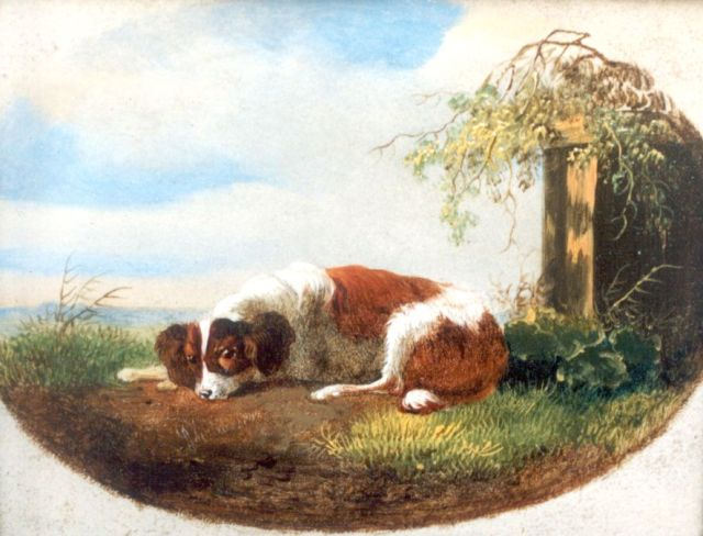 Albertus Verhoesen | A resting dog, oil on panel, 8.8 x 11.1 cm, signed l.l.