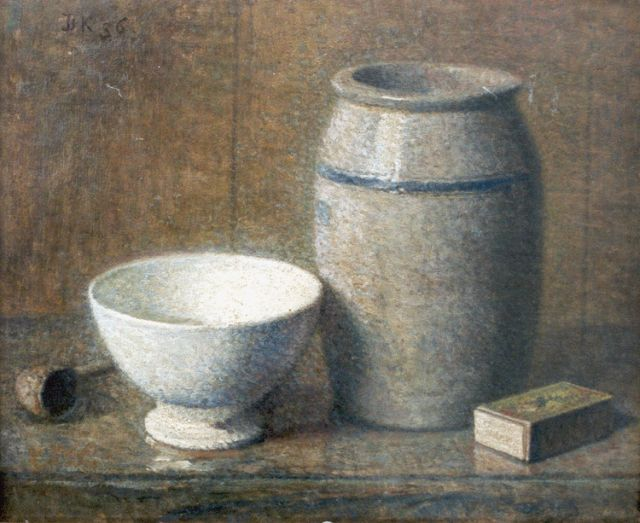 Douwe Komter | A still life with a jar and a Cologne pot, oil on painter's board, 27.0 x 32.4 cm, signed u.l. with initials and dated '36
