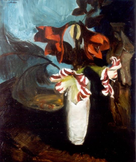 Wijngaerdt P.T. van | Amaryllis in a white vase, oil on canvas 80.2 x 68.0 cm, signed u.l.