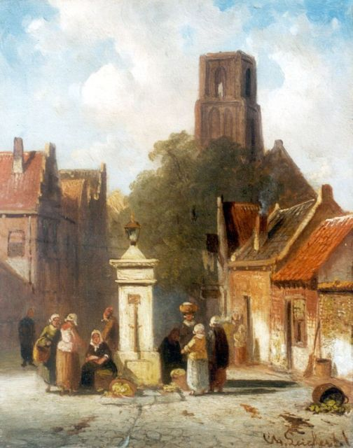 Charles Leickert | A village square with vegetable-seller, oil on panel, 16.1 x 12.8 cm, signed l.r.