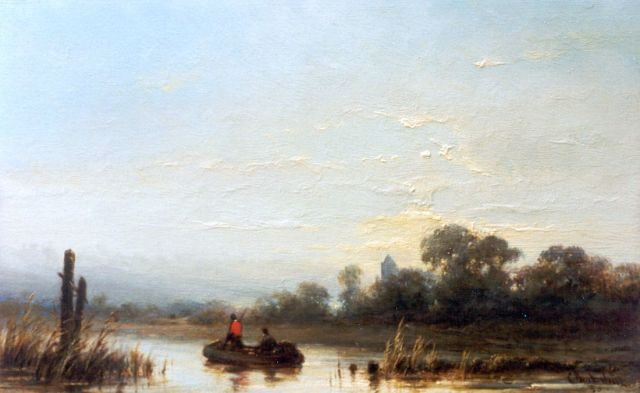 Cornelis Westerbeek | A river landscape with anglers in a boat, oil on panel, 15.6 x 25.1 cm, signed l.r. and dated '80