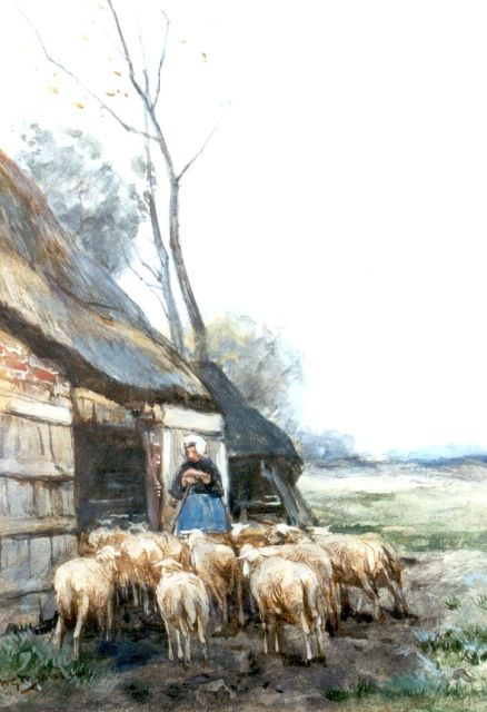 Willem George Frederik Jansen | A shepherdess with her flock, watercolour on paper, 33.5 x 24.0 cm, signed l.l.