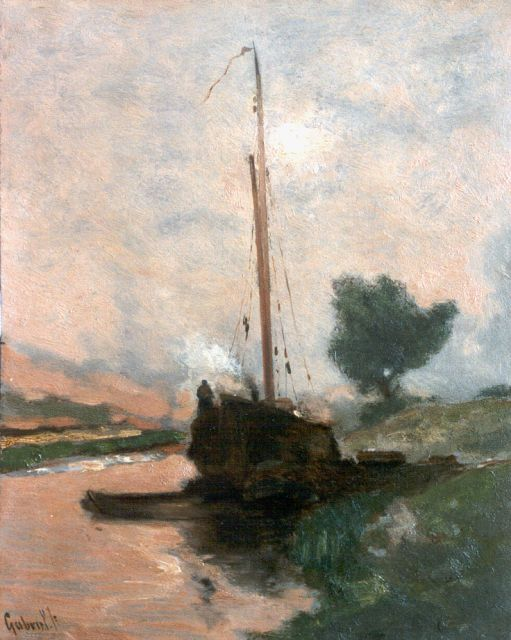 Paul Joseph Constantin Gabriel | Moored boat, oil on panel, 29.5 x 23.5 cm, signed l.l.