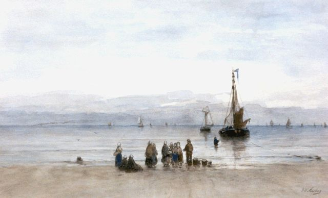 Hendrik Willem Mesdag | Awaiting the fleet, watercolour on paper, 38.5 x 63.4 cm, signed l.r.