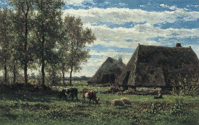 Roelofs W.  | Farmstead in summer, Drenthe, oil on canvas, 45.4 x 71.2 cm, signed l.r.