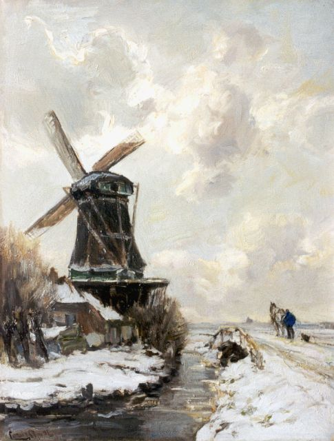 Louis Apol | A snow-covered landscape with windmill, oil on canvas, 42.4 x 32.6 cm, signed l.l.