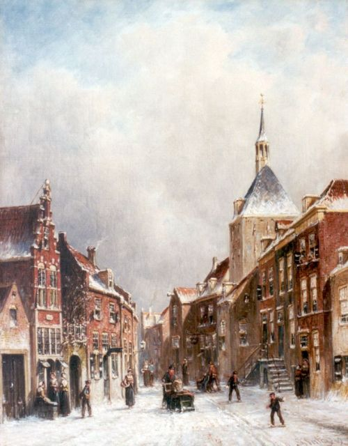 Petrus Gerardus Vertin | A town in winter, oil on canvas, 45.0 x 34.9 cm, signed l.r. and dated '89