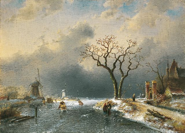 Charles Leickert | A winter landscape with skaters and a 'koek en zopie', oil on canvas, 43.5 x 60.0 cm, signed l.l. and dated '65