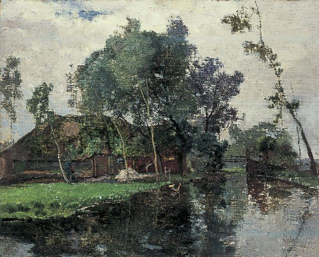 Paul Joseph Constantin Gabriel | A farm along a stream, Giethoorn, oil on canvas laid down on panel, 43.3 x 53.5 cm, signed l.r.