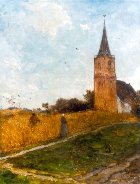 Paul Joseph Constantin Gabriel | A view of the church of Elspeet, oil on canvas, 49.2 x 38.4 cm, signed l.l.
