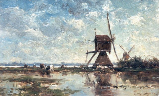 Roelofs W.  | Windmills in a polder landscape, oil on panel, 12.0 x 19.0 cm, signed l.r.