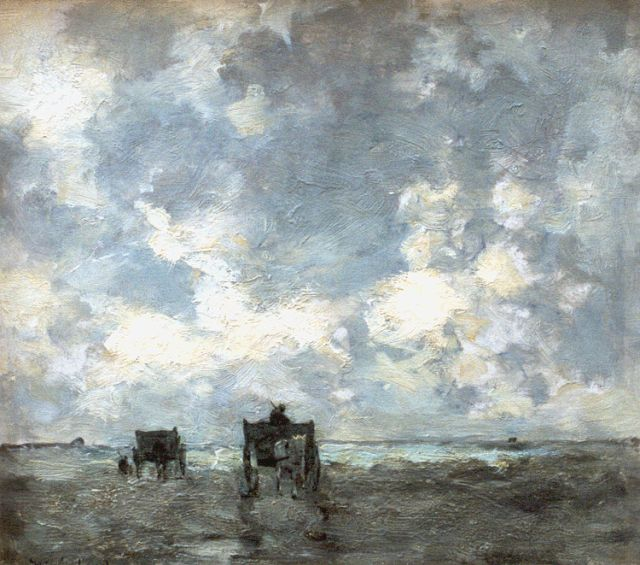 Jan Hendrik Weissenbruch | Shell-gatherers on the beach, oil on panel, 26.8 x 29.2 cm, signed l.l. and dated 1902