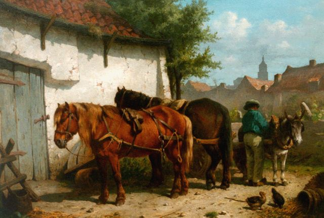 Wouter Verschuur jr. | A farmer, two horses and a donkey, oil on panel, 45.0 x 64.0 cm, signed l.r. and dated '67