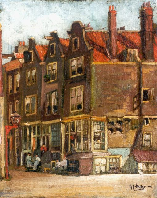Gerard Johan Staller | Houses in Amsterdam, oil on canvas laid down on painter's board, 22.9 x 18.2 cm, signed l.r.