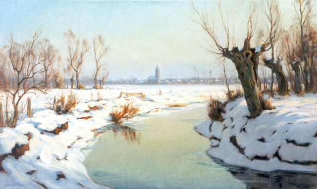 Johan Meijer | A winter landscape, with Blaricum in the distance, oil on canvas, 60.3 x 100.1 cm, signed l.l.