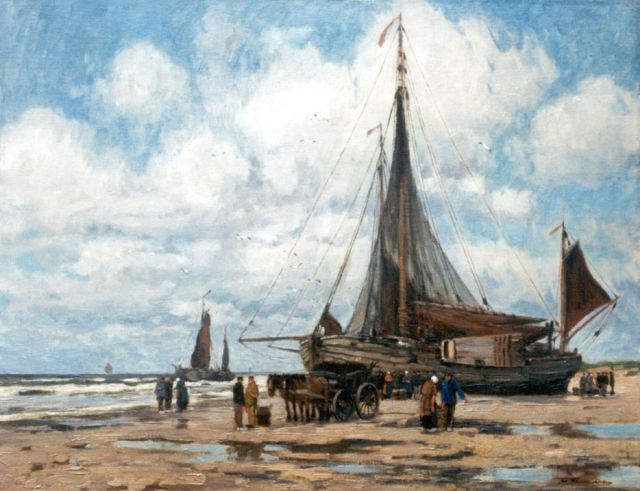 Wilhem Hambüchen | Sorting the catch, oil on canvas, 61.4 x 79.0 cm, signed l.r.