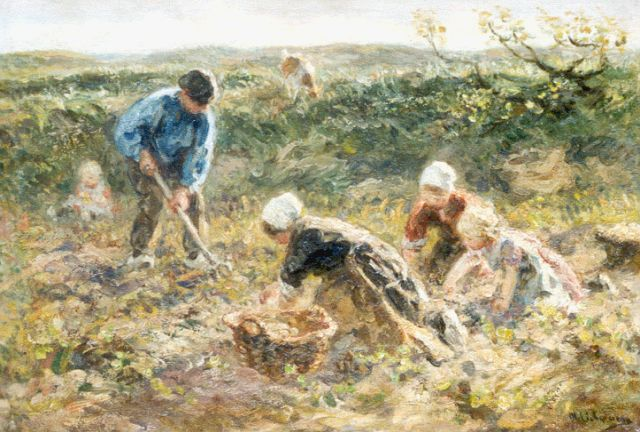 Jan Zoetelief Tromp | Digging up potatoes, oil on canvas, 34.3 x 50.2 cm