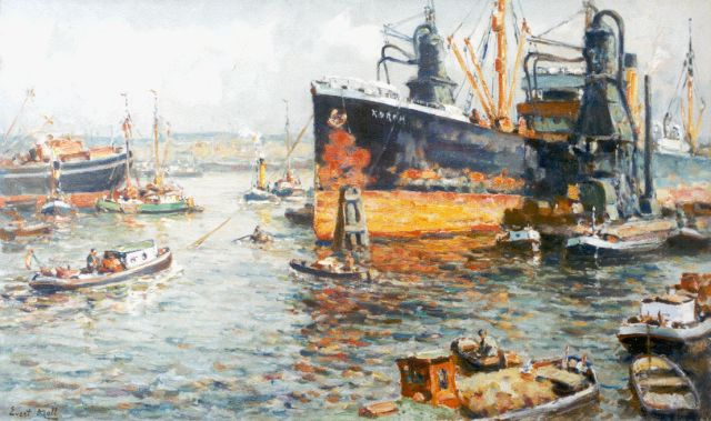 Evert Moll | Providing the ships, Rotterdam, oil on canvas, 60.6 x 101.0 cm, signed l.l.