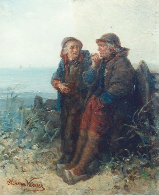 Elchanon Verveer | The conversation, oil on panel, 18.5 x 14.8 cm, signed l.l.