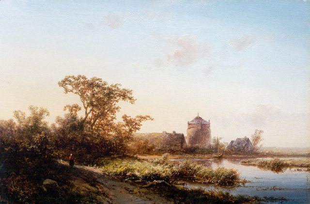 Pieter Kluyver | A river landscape at sunset, oil on panel, 18.0 x 27.4 cm, signed l.l.