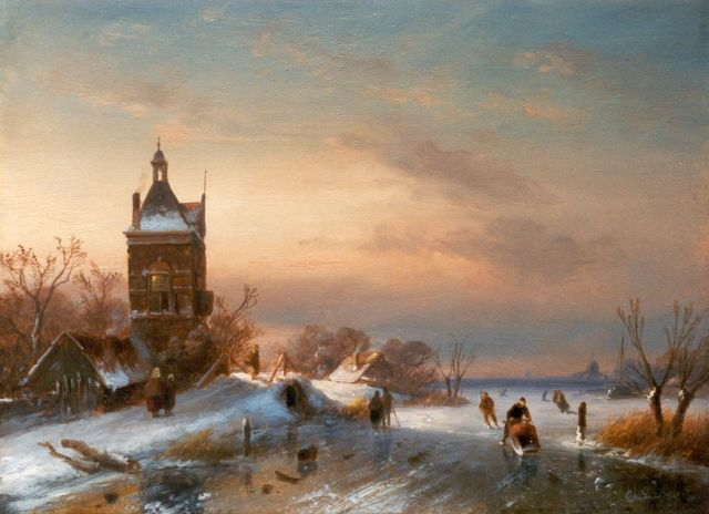 Charles Leickert | Skaters on a frozen waterway, oil on panel, 23.6 x 32.0 cm, signed l.r.