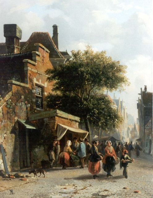 Adrianus Eversen | Market day, oil on panel, 27.8 x 21.7 cm, signed l.l. with monogram