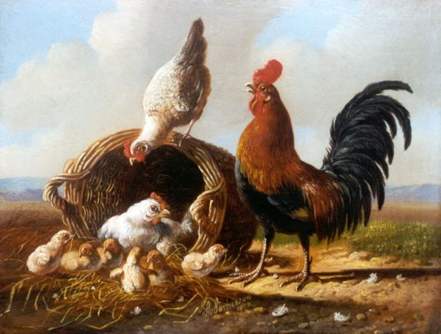 Albertus Verhoesen | A rooster, hen and chicks, oil on panel, 13.5 x 17.1 cm, signed l.c. and dated 1872