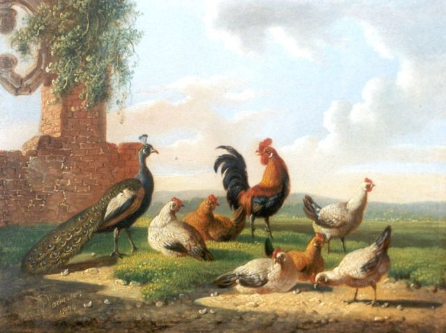 Albertus Verhoesen | Poultry at a ruin, oil on panel, 13.2 x 17.5 cm, signed l.l. and painted 1874