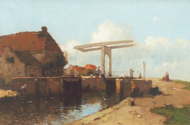 Aris Knikker | View on a lock with a drawbridge, oil on canvas, 40.2 x 60.2 cm, signed l.l.