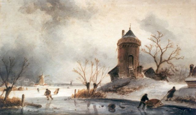 Charles Leickert | A winter landscape with skaters on the ice, watercolour on paper, 20.5 x 34.0 cm, signed l.l.