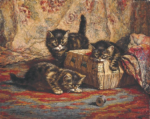 Cornelis Raaphorst | Three kittens playing, oil on canvas, 40.1 x 50.4 cm, signed l.l.