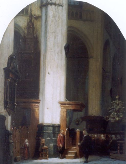 Jan Jacob Schenkel | A church interior, oil on panel, 30.9 x 24.2 cm, signed l.r.