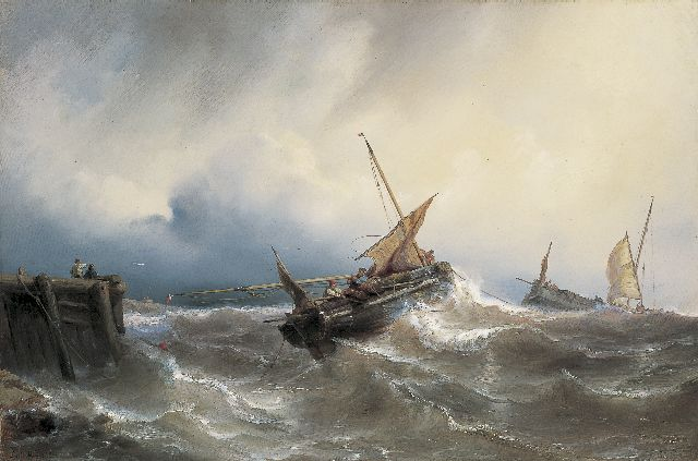 Louis Meijer | Sailing vessels off the coast in stormy waters, oil on canvas, 43.0 x 64.9 cm, signed l.l. and dated 1845