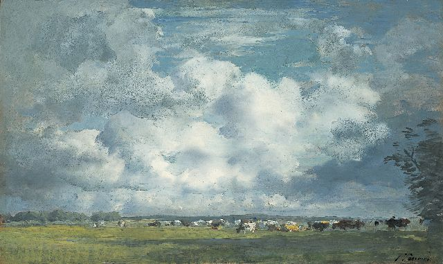 Jan Voerman sr. | A landscape with cows grazing, Hattem, oil on panel, 31.0 x 52.0 cm, signed l.r.