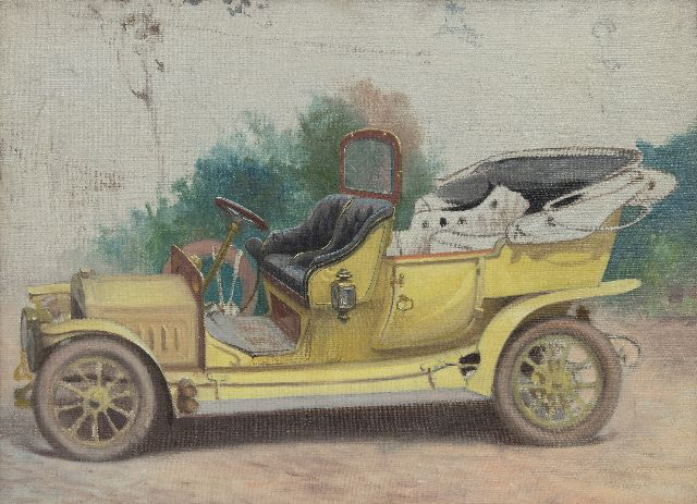 Onbekend   | Antique car, oil on canvas 48.1 x 66.0 cm