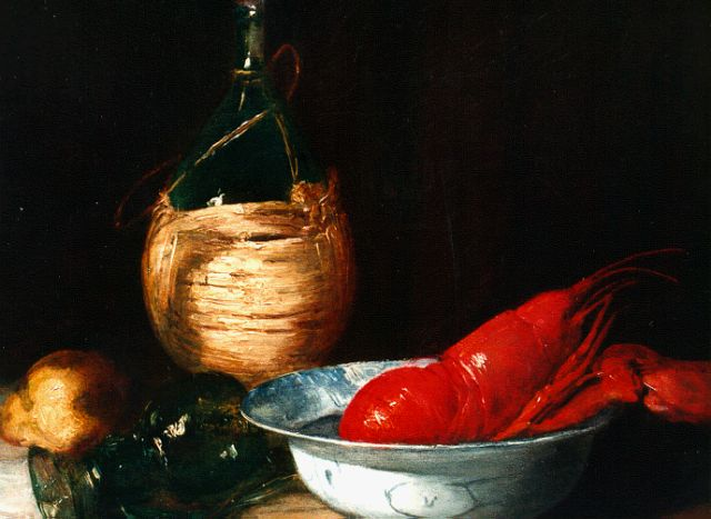 Antoine Vollon | Still life with a lobster and winebottle, oil on canvas, 38.5 x 46.5 cm, signed l.r.