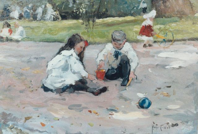August van Voorden | Children playing in a parc, oil on board, 22.5 x 32.5 cm, signed l.r. with initials