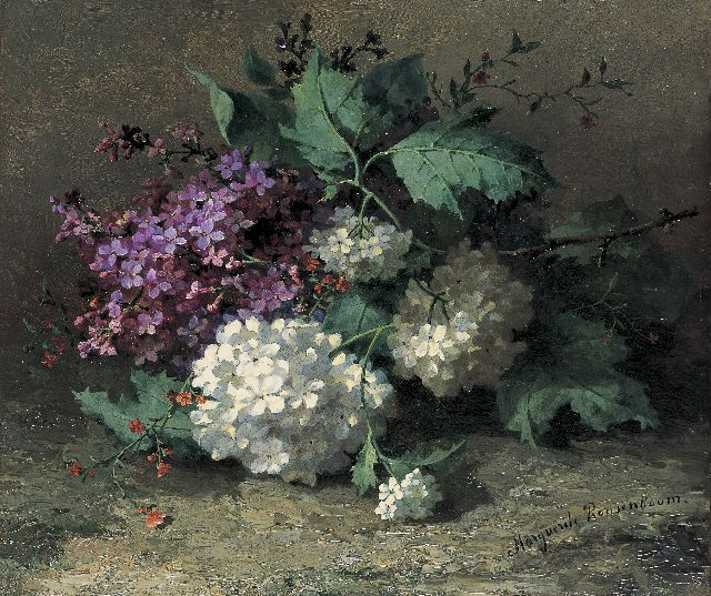 Margaretha Roosenboom | A still life with lilacs, oil on canvas laid down on panel, 26.3 x 31.1 cm, signed l.r.