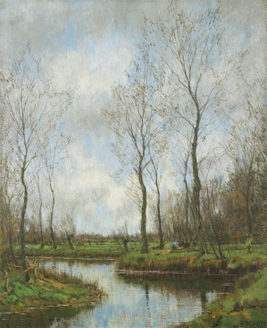 Arnold Marc Gorter | Woodworker near the Vordense Beek, oil on canvas, 50.5 x 40.4 cm, signed l.r.