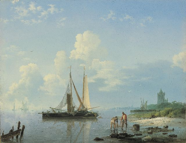 Hermanus Koekkoek | Shipping in a calm, oil on panel, 21.5 x 27.6 cm, signed l.l. and painted between 1833-1836