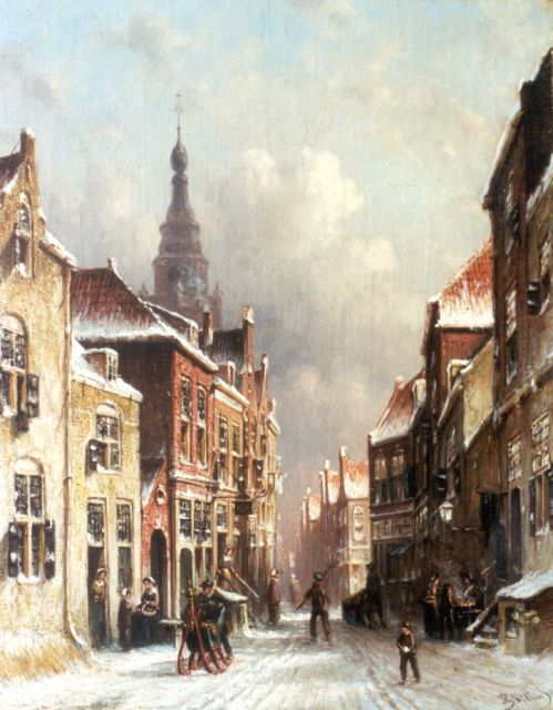 Petrus Gerardus Vertin | A snow-covered town, oil on canvas, 45.0 x 36.2 cm, signed l.r. and dated '83