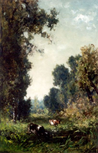 Roelofs W.  | A forest landscape with watering cows, oil on canvas laid down on panel, 43.7 x 28.7 cm, signed l.l.
