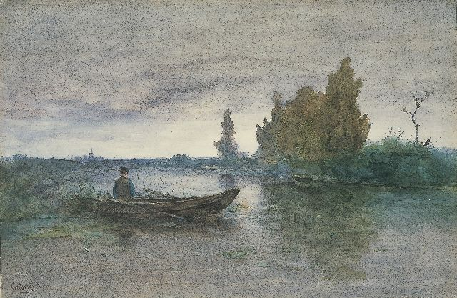 Paul Joseph Constantin Gabriel | A man in a rowing boat, watercolour on paper, 35.0 x 53.0 cm, signed l.l.
