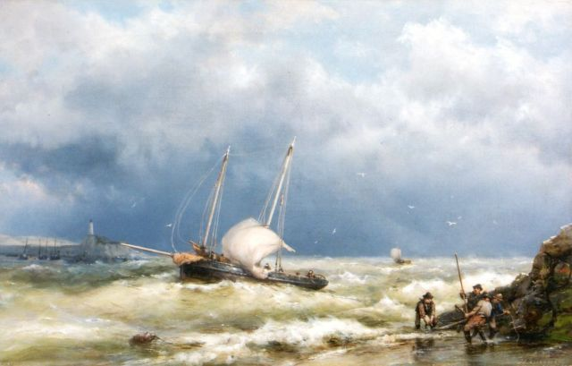 Hermanus Koekkoek | Shipping in a stiff breeze, oil on canvas, 37.1 x 58.3 cm, signed l.r.