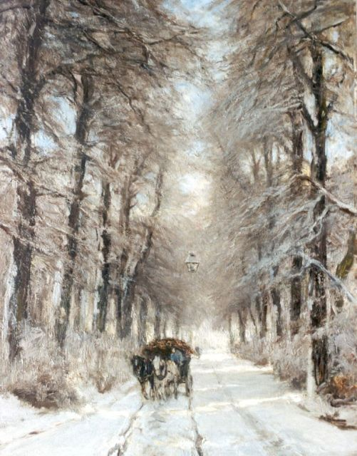 Louis Apol | A horse-drawn cart on a country lane in winter, oil on canvas, 85.4 x 66.5 cm, signed l.l.
